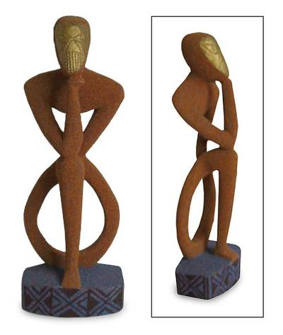 Wood sculpture, 'Thinking About the World' - Wood sculpture
