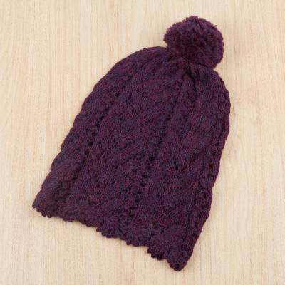 100% alpaca hat, 'Enchanting Eggplant' - 100% Alpaca Knit Patterned Hat in Eggplant from Peru