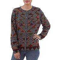 100% alpaca cardigan, 'Inca Nobility' - 100% Alpaca Inca Geometric Pattern Grey Cardigan Sweater