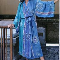 Women's batik robe, 'Green Baliku'