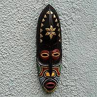 Akan wood mask, 'Star Guide' - Red and Black Beaded African Mask