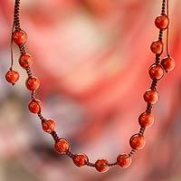 Jasper Shambhala-style necklace, 'Blissful Courage' - Shambhala-style Jewelry Jasper and Cotton Necklace