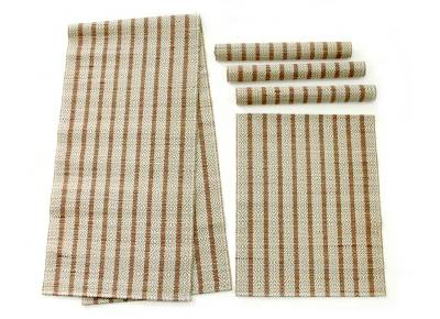 Natural fiber table runner and placemats, 'Ethnic Red' (set for 4) - Natural Fiber Table Runner and Placemats (Set  for 4)