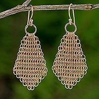 Rose gold plated dangle earrings, 'Chain Mail Rose' - Abstract Rose Petal Earrings Rose Gold Plated Chain Mail