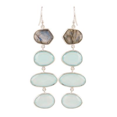 Chalcedony and labradorite dangle earrings, 'Fantastic Mist' - 38-Carat Blue Chalcedony and Labradorite Dangle Earrings