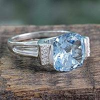 Blue topaz ring, 'India Royal' - Hand Made Sterling Silver Single Stone Blue Topaz Ring
