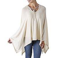 Pima cotton hooded poncho, 'Trendy Ecru'