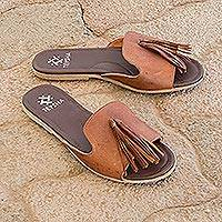 Leather sandals, 'Russet Cruiser' - Handmade Leather Sandals with Tassels in Russet