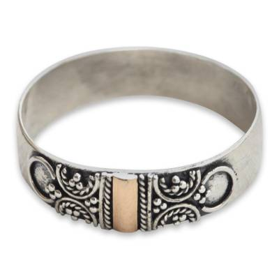 Gold accent band ring, 'Glad Arabesques' - Graceful Handcrafted Gold Accent Sterling Silver Band Ring