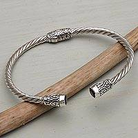 Amethyst cuff bracelet, 'Spiral Temple'