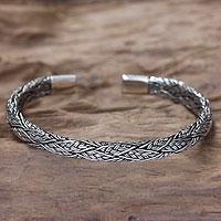 Men's sterling silver cuff bracelet, 'Warrior' - Men's Silver Cuff Bracelet