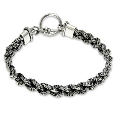 Men's sterling silver bracelet, 'Naga Braid' - Men's Sterling 925 Silver Braided Bracelet