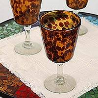 Wine glasses, 'Tortoise Shell' (set of 5) - Fair Trade Handblown Wine Glasses Set of 5 Mexico