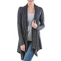 Cardigan sweater, 'Grey Waterfall Dream' - Long Sleeved Grey Cardigan Sweater from Peru
