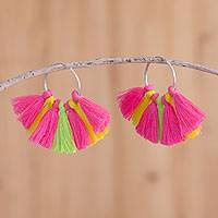 Sterling silver hoop earrings, 'Fun Party' - Fringed Sterling Silver Hoop Earrings from Peru