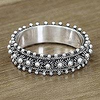 Sterling silver band ring, 'Star Shine' - Unique Floral Sterling Silver Band Ring