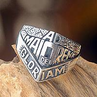 Men's sterling silver ring, 'Ad Maiorem Dei Gloriam' - Artisan Crafted Men's Spiritual Ring in Sterling Silver