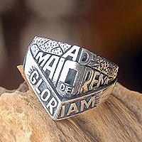 Men's sterling silver ring, 'Ad Maiorem Dei Gloriam'