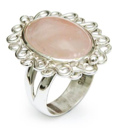 Rose quartz cocktail ring, 'Pink Blossom' - Fair Trade Sterling Silver Rose Quartz Cocktail Ring
