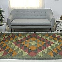 Jute rug, 'Kashmir Kaleidoscope' (6x9) - Jute Area Rug Natural Dyes Indian Dhurrie (6x9)