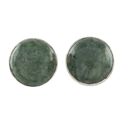 Jade stud earrings, 'Harmonious Peace' - Round Jade Stud Earrings in Sterling Silver