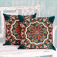 Embroidered cushion covers, 'Floral Forest' (pair)