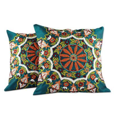 Embroidered cushion covers, 'Floral Forest' (pair) - Green Floral Embroidered Cushion Covers (Pair)