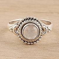 Rainbow moonstone cocktail ring, 'Gemstone Moon' - Rainbow Moonstone Cocktail Ring Crafted in India