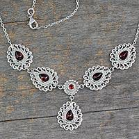 Garnet Y-necklace, 'Passion's Truth' - Indian Y-necklace in Garnet and Sterling Silver