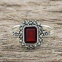 Garnet and marcasite cocktail ring, 'Joyous Solitude'