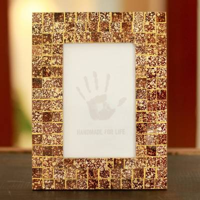 Glass mosaic photo frame, Golden Fireflies (4x6)