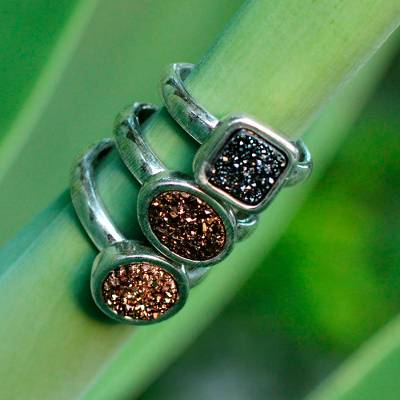 Drusy agate stacking rings, 'Samba Glitz' (set of 3) - Rhodium Plated Drusy Rings (Set of 3)