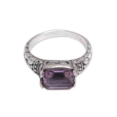 Faceted Purple Amethyst Single Stone Ring from Bali
