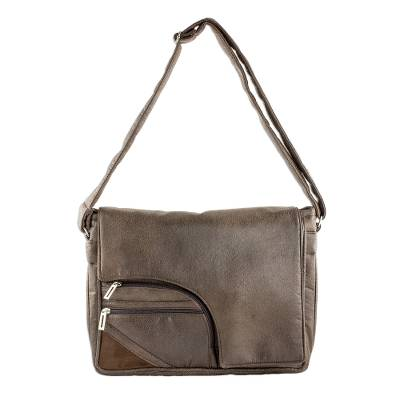 Faux Leather Messenger Bag in Espresso from Costa Rica