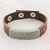 Men's jade and leather wristband bracelet, 'Light Green Maya Fortress'