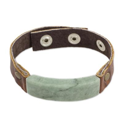 Men's jade and leather wristband bracelet, 'Light Green Maya Fortress' - Men's Leather Wristband Bracelet with Light Green Jade