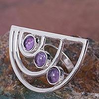 Amethyst cocktail ring, 'Lunar Alignment' - Modern 925 Sterling Silver Cocktail Ring with Amethysts