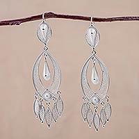 Silver chandelier earrings, 'White Autumn' - Fine Silver Chandelier Earrings