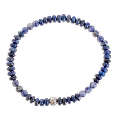 Sodalite and jasper beaded stretch bracelet,