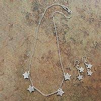 Sterling silver jewelry set, 'Catch a Falling Star' - Handmade Silver Star Necklace and Earrings Set from Peru