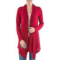 Cardigan sweater, 'Red Waterfall Dream' - Long Sleeved Red Cardigan Sweater from Peru