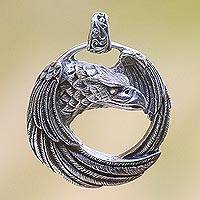 Sterling silver pendant, 'Buleleng Eagle' - Sterling Silver Eagle Pendant from Java