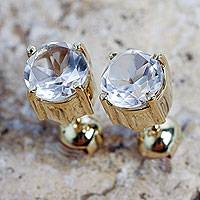 Gold vermeil quartz stud earrings, 'Touch of Radiance' - Andean Handcrafted Gold Vermeil Earrings with Crystal Quartz