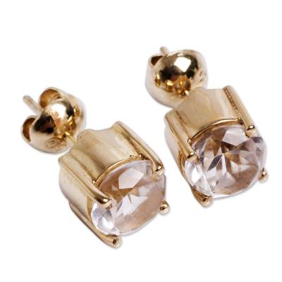 Andean Handcrafted Gold Vermeil Earrings with Crystal Quartz