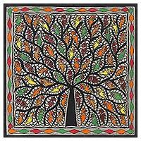 Madhubani painting, 'Magnificent Tree' - Multicolored Madhubani Tree Painting from India