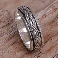 Sterling silver meditation spinner ring, 'Eternal Bond'