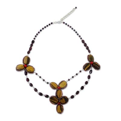 Multi-gemstone beaded pendant necklace,