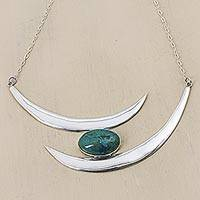 Chrysocolla statement necklace, 'Light of the Half Moon' - Silver and Chrysocolla Statement Necklace from Peru
