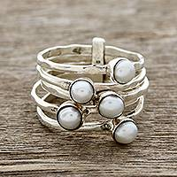Cultured pearl cocktail ring, 'White Glow'
