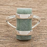 Jade cocktail ring, 'Sweet Maya in Apple Green' - Cylindrical Apple Green Jade Cocktail Ring from Guatemala